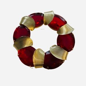 Marvella Vintage Red and Gold Wreath Brooch